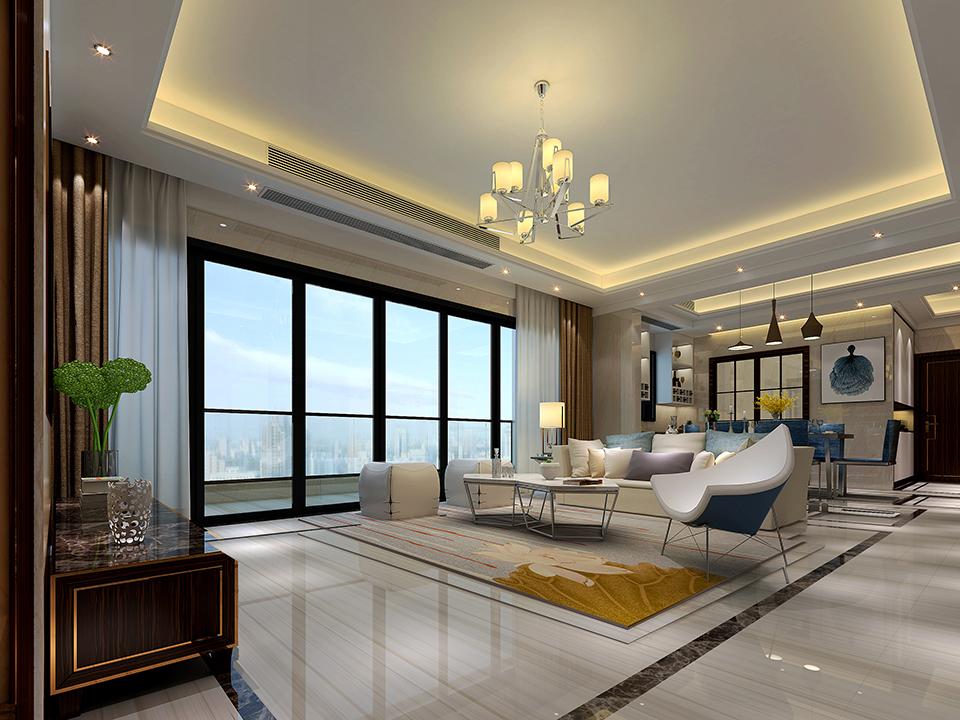 而米白色的天花渲染与清新木纹地砖相搭配带来空间的清朗质感,配以