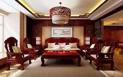 一,中式風格裝修客廳吊頂可設計凹位造型 結合傳統文化的理念,較好的